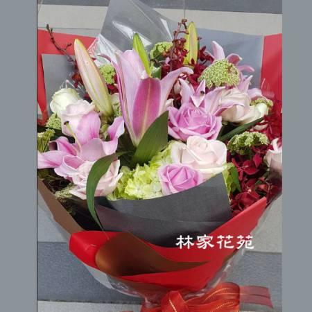 A035情緣百合玫瑰花束情人節花束獻花花束