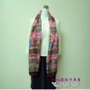 S118-粉咖雙色圖紋絲巾