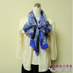 S115-藍色圖紋絲巾
