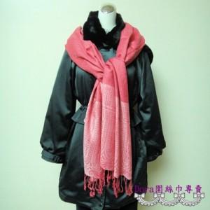 S113-粉紅色雙層圖紋圍巾