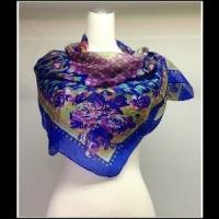 S027藍紫色圖紋絲巾