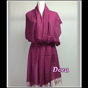 S030桃紅色素色圍巾
