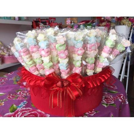 小花彩色棉花糖(一籃100支x699元)買就送籃子-台南婚禮小物