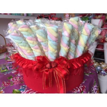 麻花彩色棉花糖(一籃100支699元)買就送籃子-台南婚禮小物