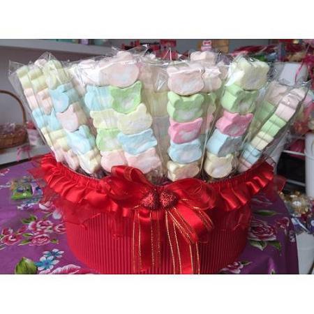 甜蜜小熊頭棉花糖(一籃100支*699元)買就送籃子-台南婚禮小物