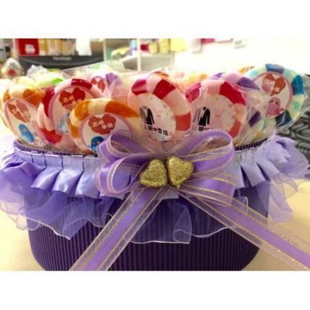 彩色水果棒棒糖組(一籃60支599元)送圓型姓名貼-台南婚禮小物