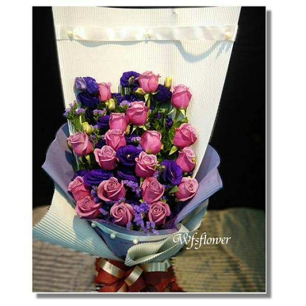 F071紫玫瑰花束情人節花束生日花束戀愛色彩束台南市花