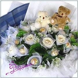 F064分享喜悅白玫瑰加金莎花束台南市花店