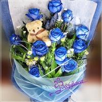 F065藍色玫瑰花束藍玫之愛台南市花店