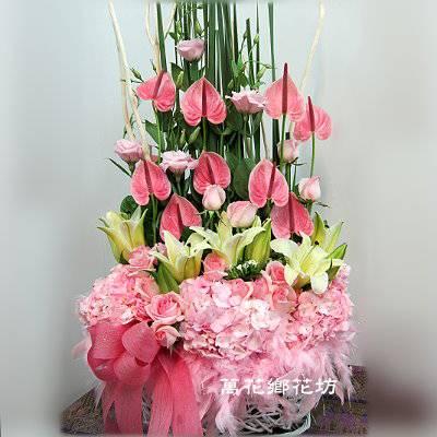 D053粉色花樣精緻盆花喜慶盆花婚禮佈置台南市花店