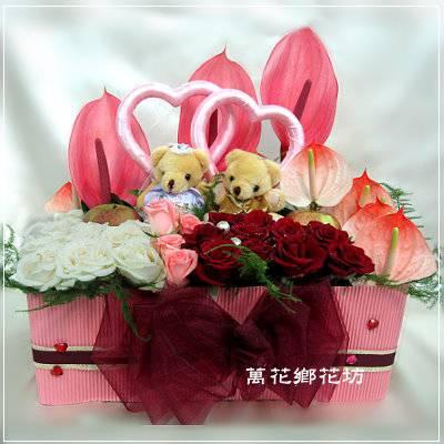 D054甜蜜婚禮情境精緻桌花會場佈置桌花喜慶盆花婚禮佈置台南市花店