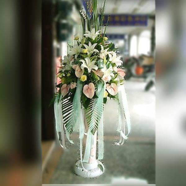BL003素雅型羅馬花柱一對台南市花店