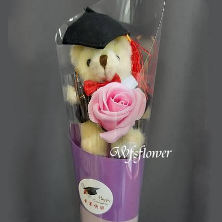 K007畢業季花禮畢業熊與香皂花台南市花店