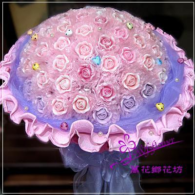 MS025幸福這麼多粉紫色66朵手工香皂玫瑰花束西洋情人節台南市花店