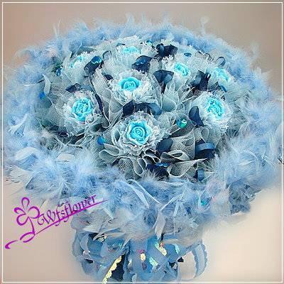 MS014閃亮之星藍色手工香皂玫瑰花束台南市花店