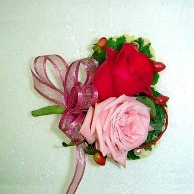 w-1双朵玫瑰精緻胸花台南市花店