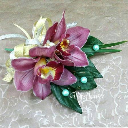 w-12綠色東亞蘭雙朵組胸花台南市花店