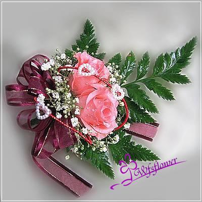 w-7雙朵組粉色玫瑰胸花台南市花店