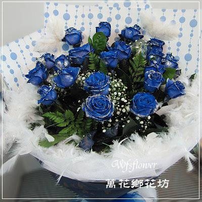 F083想戀你藍色玫瑰花束情人花束生日花束台南花店台南網路花店