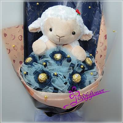 N051甜蜜的告白綿羊玩偶金莎花束