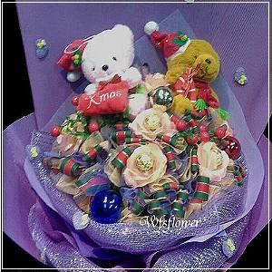 N100祝福聖誕帽熊熊花束金莎熊熊台南市花店