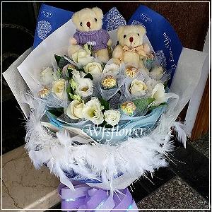 N104喜悅白玫瑰金莎情人節花束