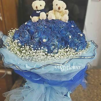 F120藍色愛情海100朵藍玫瑰花束台南市花店