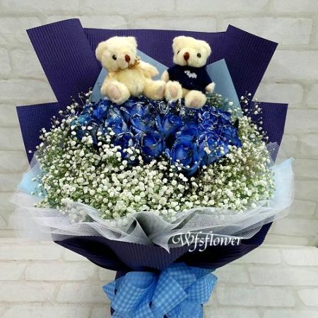 F122藍色愛情海進口藍玫瑰40朵@此款花材需事先預定