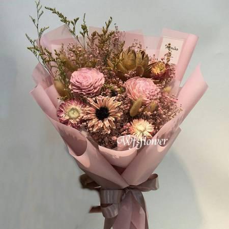 J008乾燥花花束代客送花台南市花店萬花鄉花坊