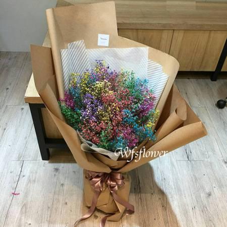 J017美麗回憶彩色滿天星乾燥花花束台南市花店