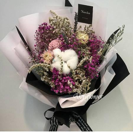 J018回憶彩色乾燥花花束台南代客送花台南市推廌花店