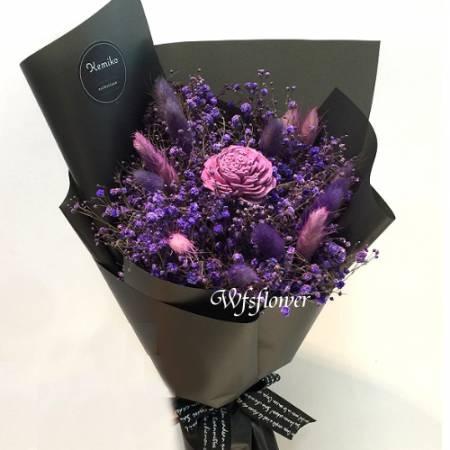 J019紫色戀情乾燥花花束台南代客送花(來店自取)