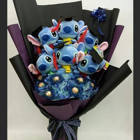 N111可愛史迪奇玩偶花束畢業花束台南市花店