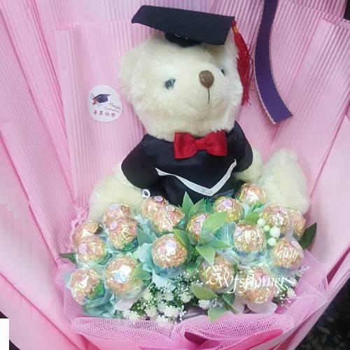 N112金莎熊熊花禮-畢業花禮台南市花店代客送花