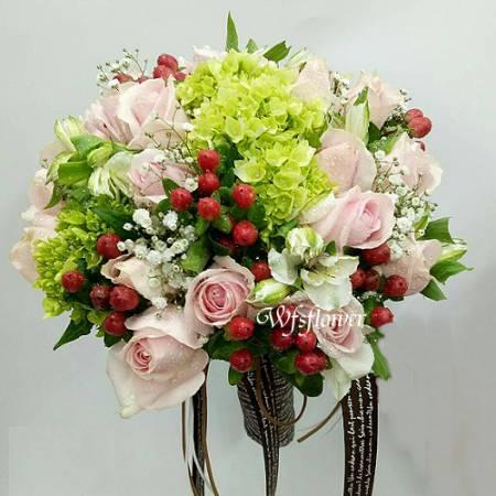 Y019浪漫婚宴捧花一世久久台南市花店
