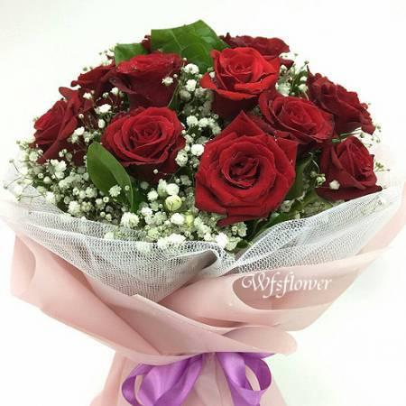 F001有你陪伴紅玫瑰花束店長推薦台南花店