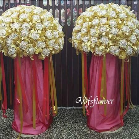 BL052甜蜜手作金莎大花柱台南花店婚宴會場佈置