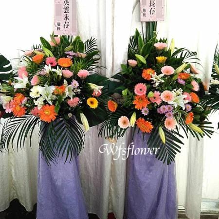 BL020素雅型高架花籃一對藝術花柱台南市花
