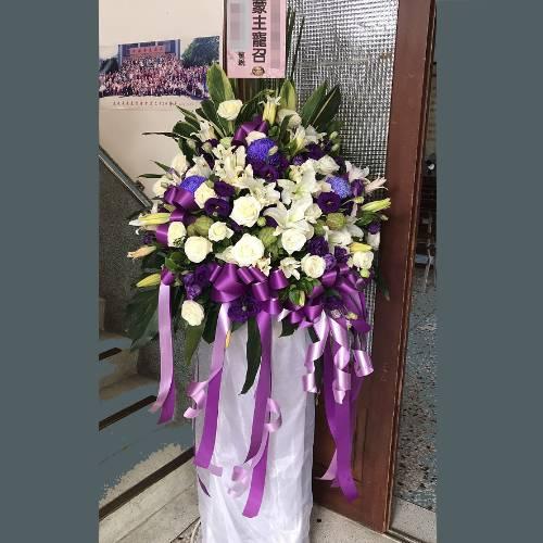 BL013素雅型高架花籃藝術花柱台南市花店
