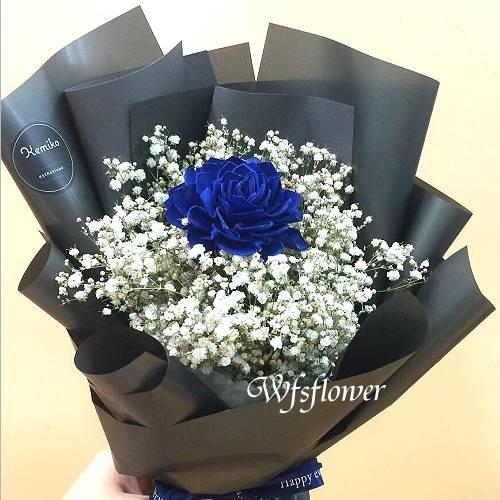 G018藍玫瑰永生花+乾燥花花束店主推薦