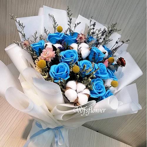MS067香皂花&乾燥花情人節花束