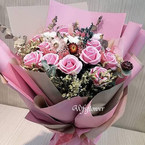 MS068香皂花&乾燥花情人節花束