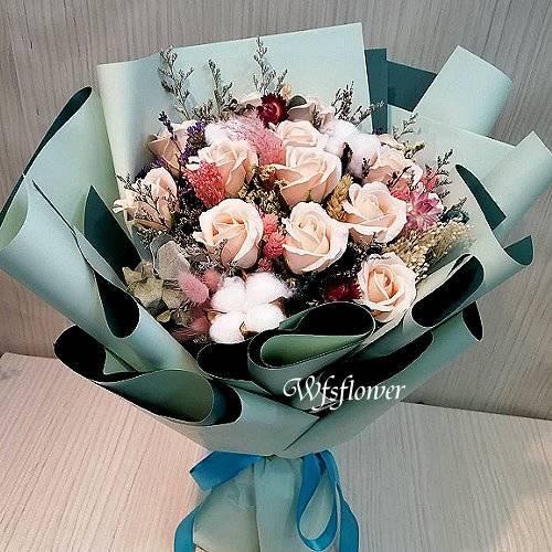 MS069香皂花&乾燥花情人節花束