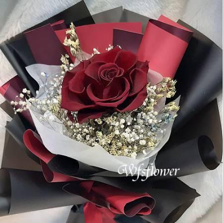 G023玫瑰永生花+乾燥花花束(三種款式)(訂購時請註明編號)