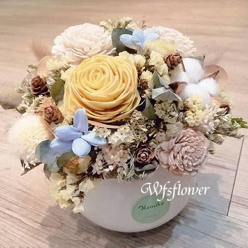 J040溫馨乾燥花盆花台南市花店