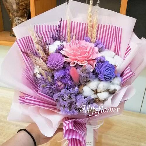 J041瑰永生花+乾燥花花束