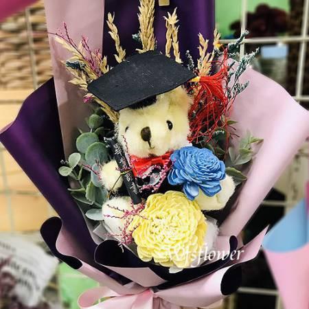 J043永恆的愛畢業乾燥花花束台南代客送花