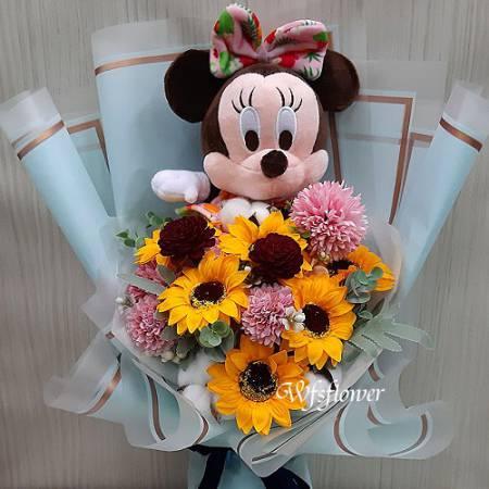 MS078米妮玩偶&向日癸香皂花畢業禮讚台南代客送花