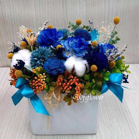 J045溫馨乾燥花盆花台南市花店代客送花