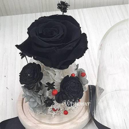 G027神秘黑色玫瑰玻璃罩永生不凋花台南花店